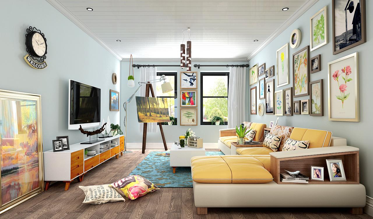 现代简约,北欧,板式家具客厅餐厅全套开发设计,3d效果图片