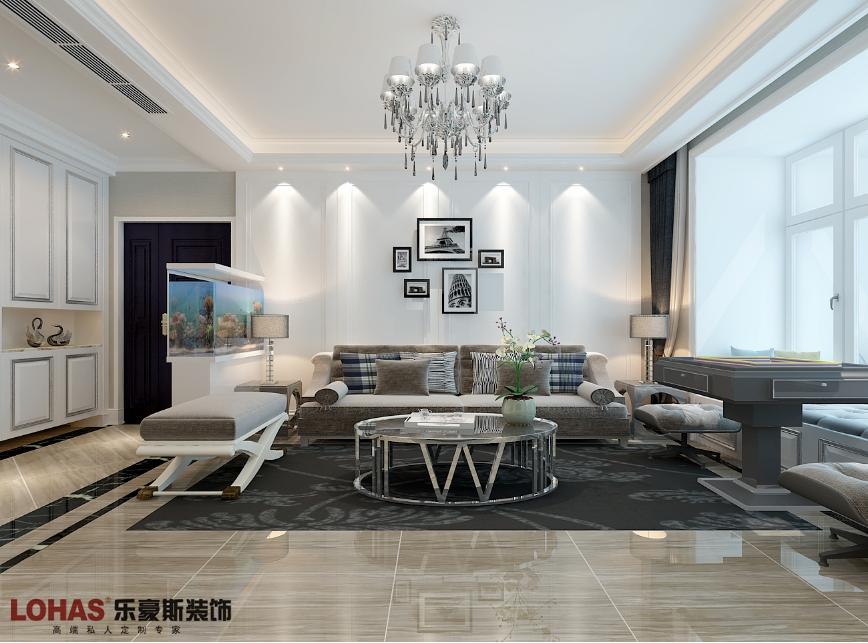 泰丰观湖140平三室两厅简欧装修效果图|室内设计