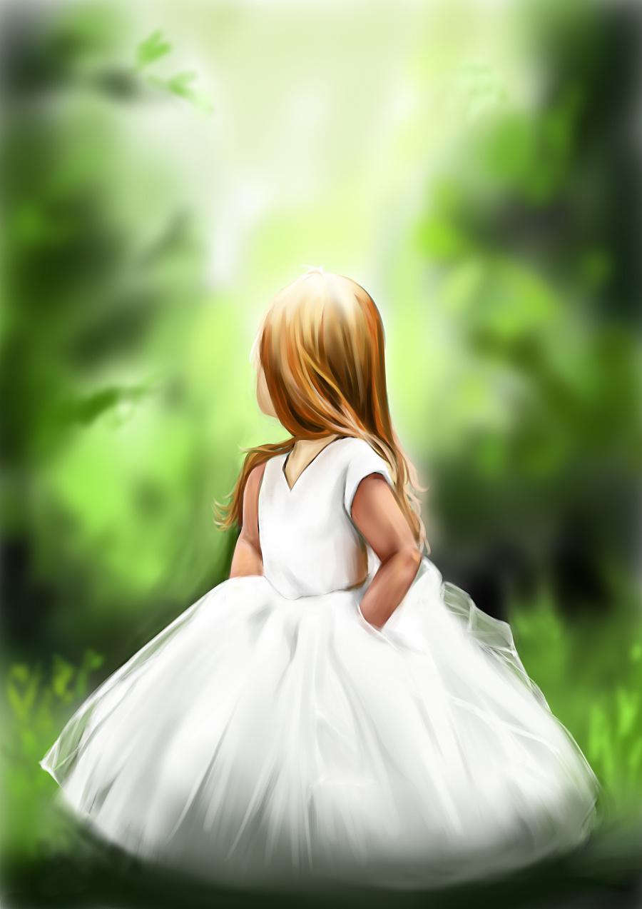 森林系女孩 绘画习作 插画 篁之空白