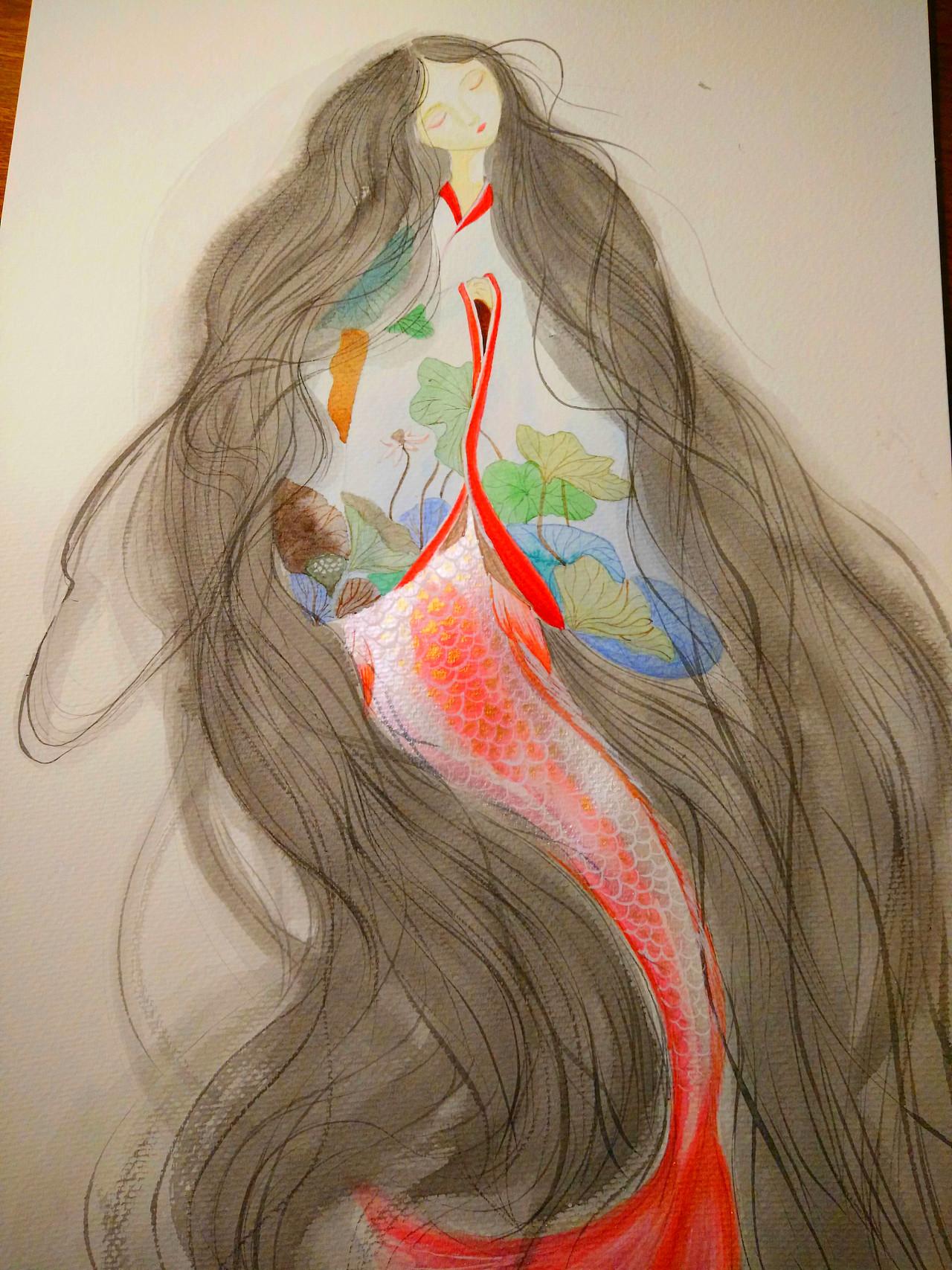 人鱼 手绘 水彩