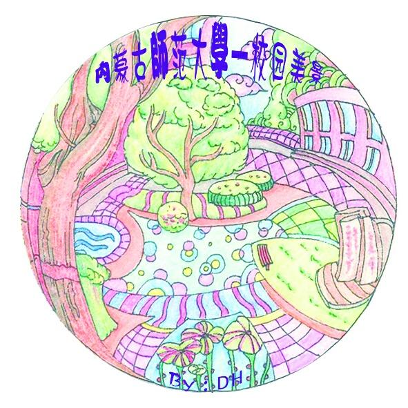 手绘校园建筑胸章设计