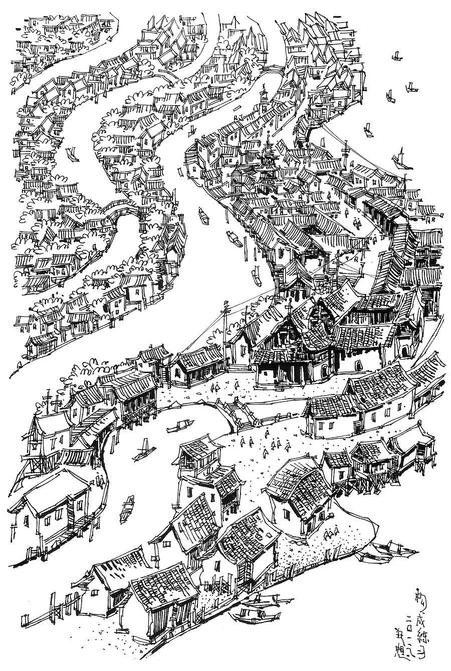 匠人营国|郑昌辉建筑钢笔画|建筑设计|空间/建筑