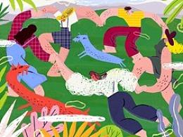 2018陆家嘴绿岸艺术节创作的插画海报