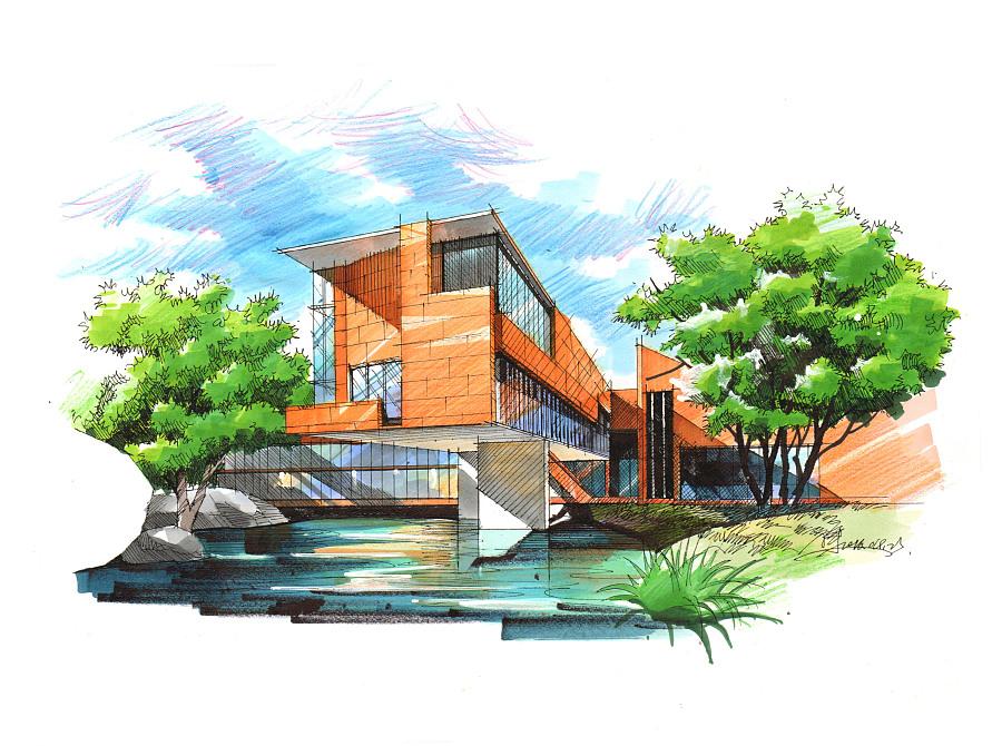 建筑写生马克笔效果图|建筑设计|空间/建筑|gaoyu图片