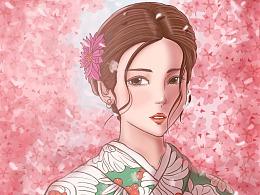 和服樱花女