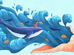 海螺·海浪·女孩