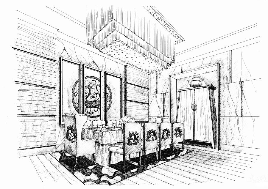 室内针管笔手绘餐厅设计图-室内针管笔