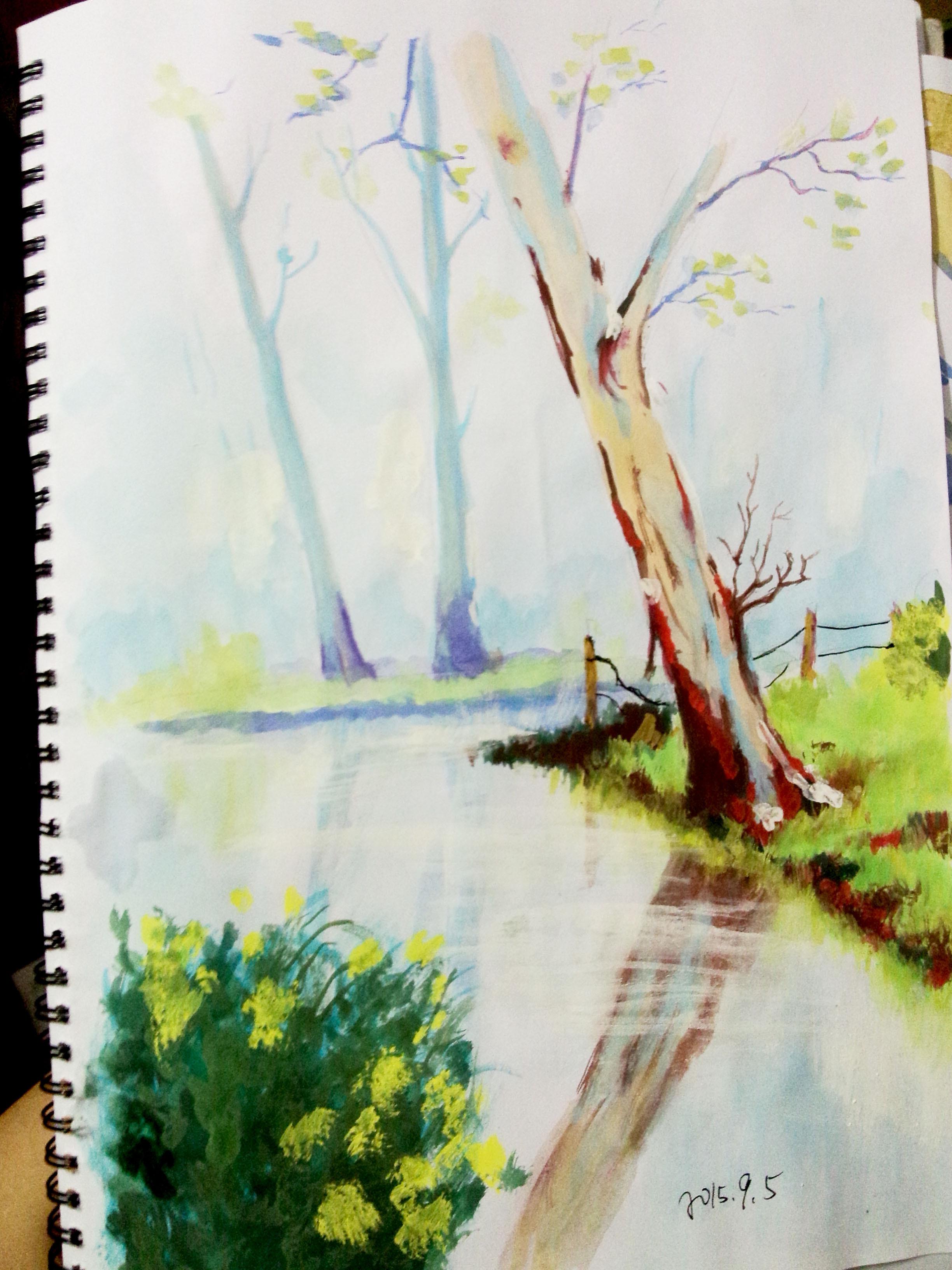 水彩画_ 树林