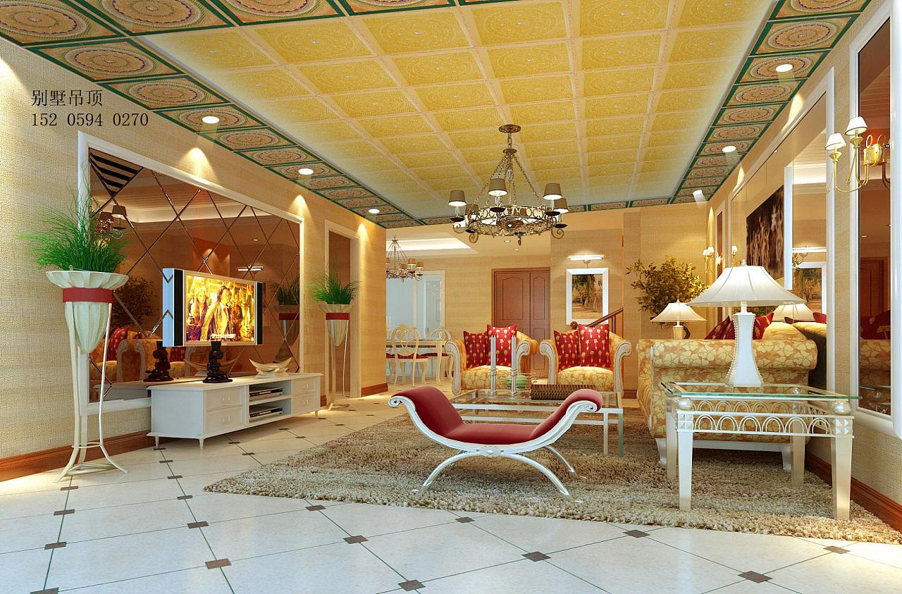 欧式别墅吊顶设计效果图图片