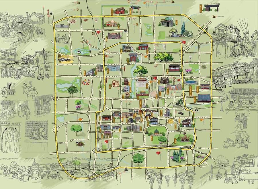 景手绘地图设计(旅游景区)