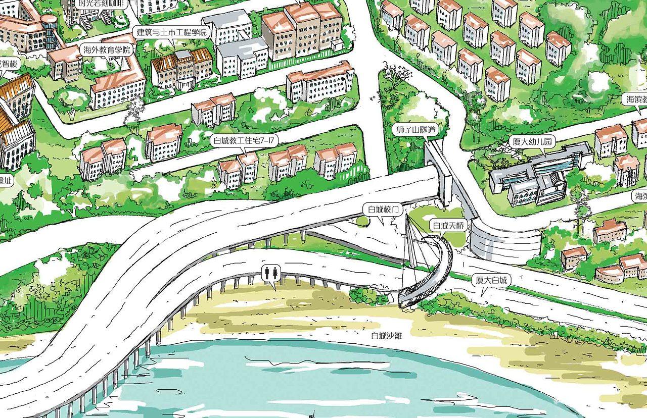 厦门大学手绘地图|插画|商业插画|荭翼 - 原创作品