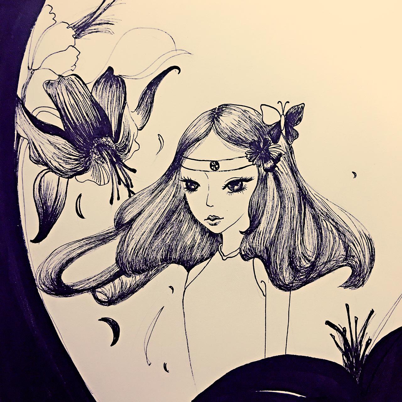 原创插画,插画女,黑白装饰画,手绘线描