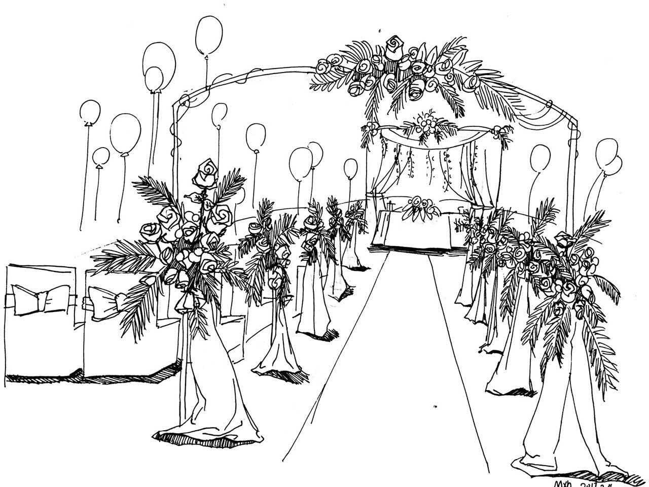 婚礼手绘临摹练习
