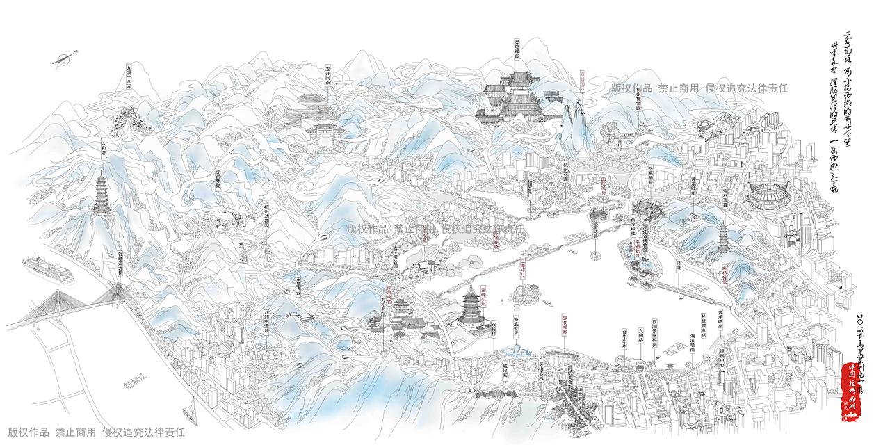 杭州西湖旅游景点手绘地图白描线描色彩建筑绘画地图图片