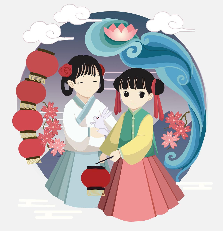 中国传统节日插画设计-元宵节 平面 图案 蓝葵酱图片