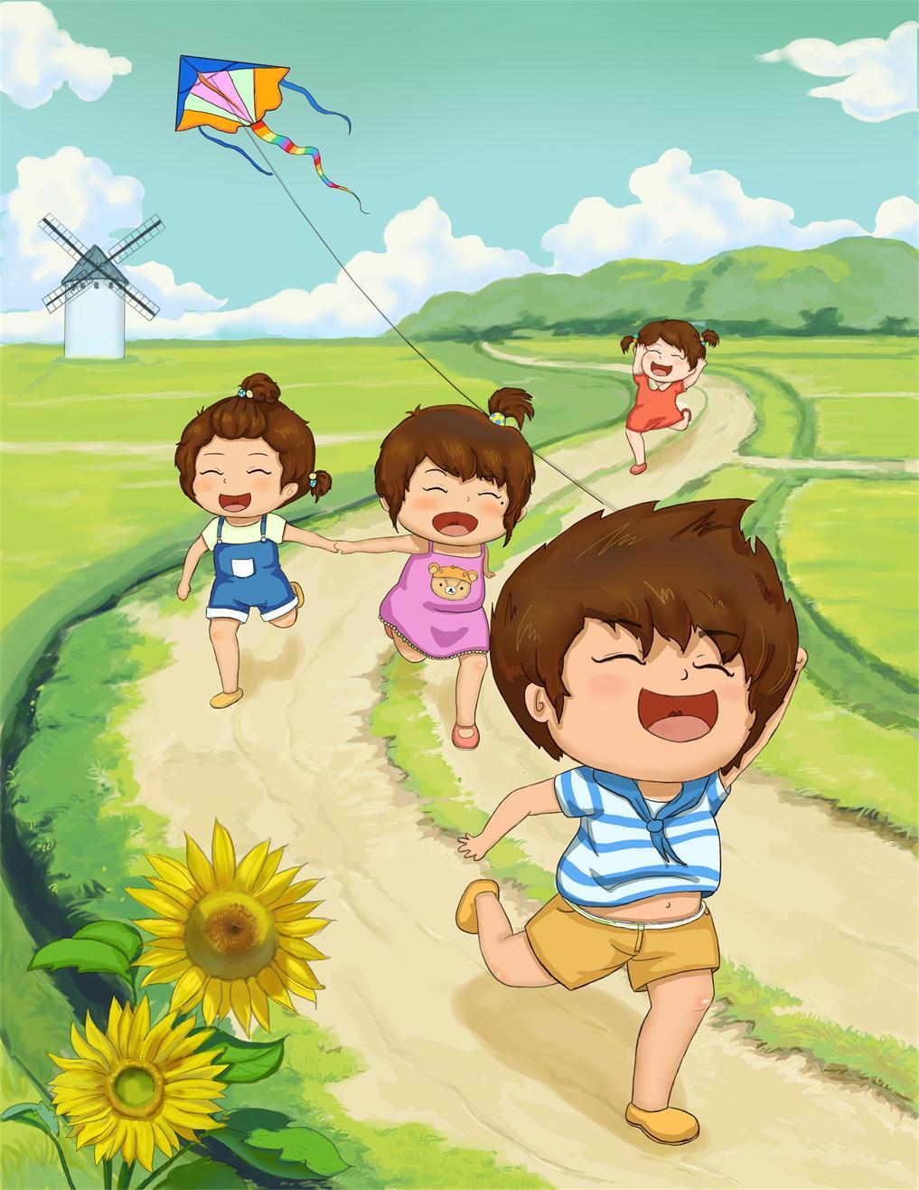 小时候的插画——放风筝.