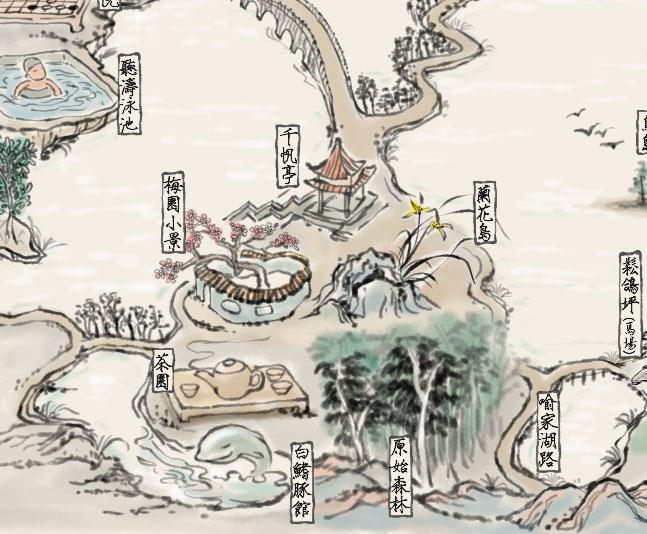 武汉东湖景观赏 细节图,手绘地图