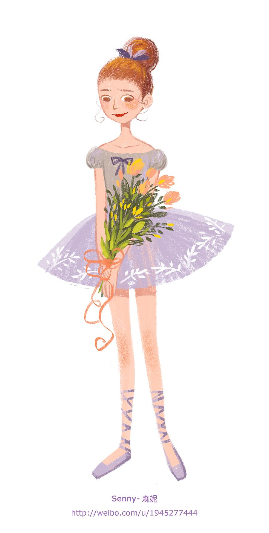 芭蕾女孩 绘画习作 插画 senny森妮