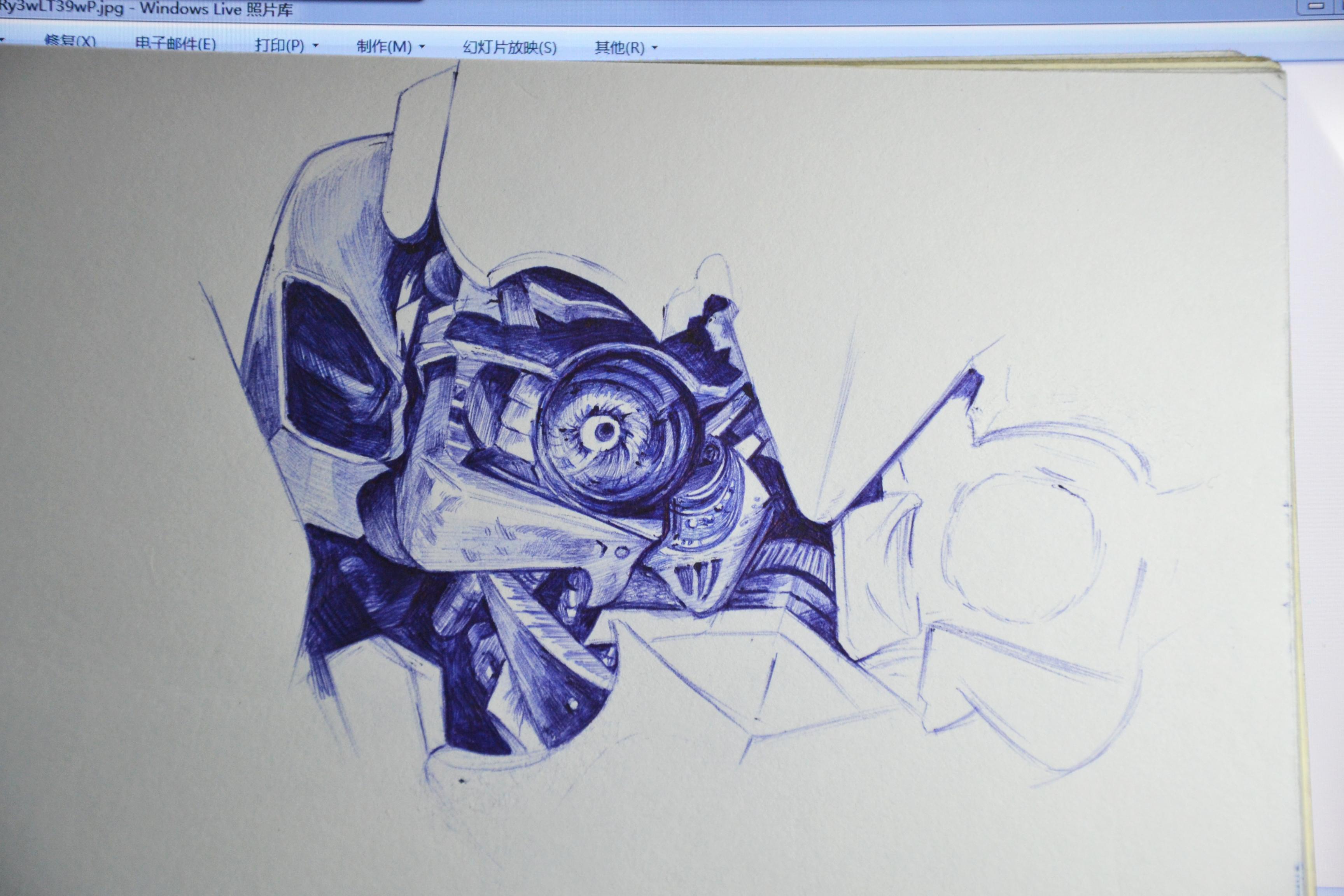 大黄蜂圆珠笔手绘