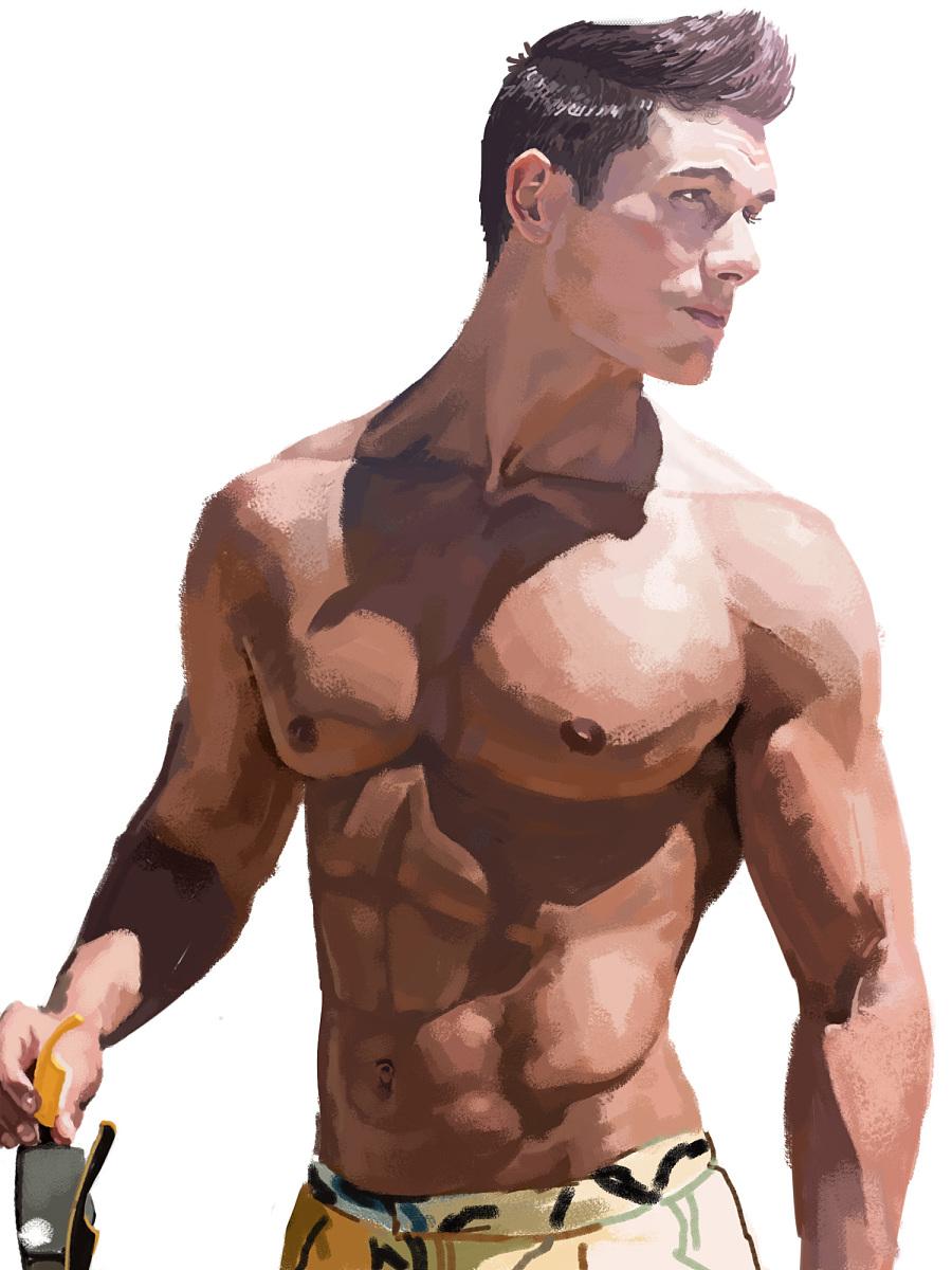 亚洲肌肉男秒变欧美男|绘画习作|插画|1124693790