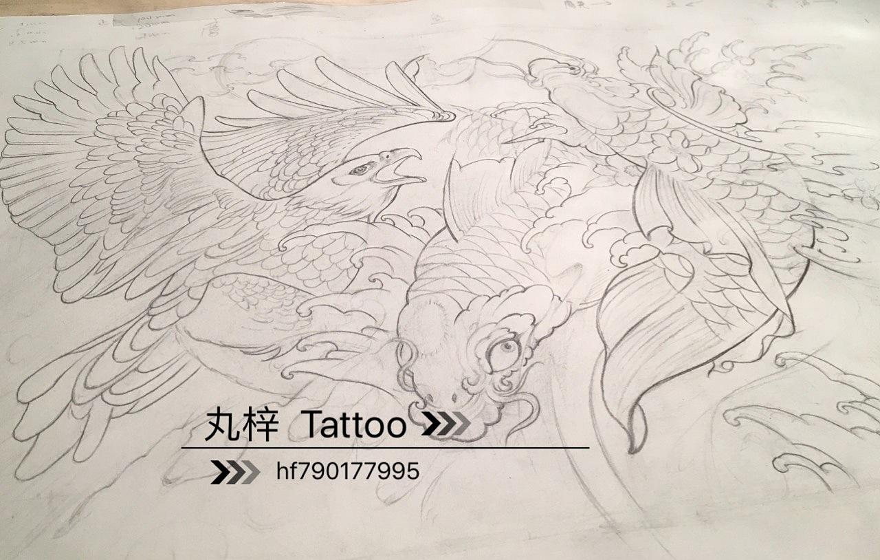传统风格 鲤鱼 鹰浪花 日式|插画|插画习作|ziyi910