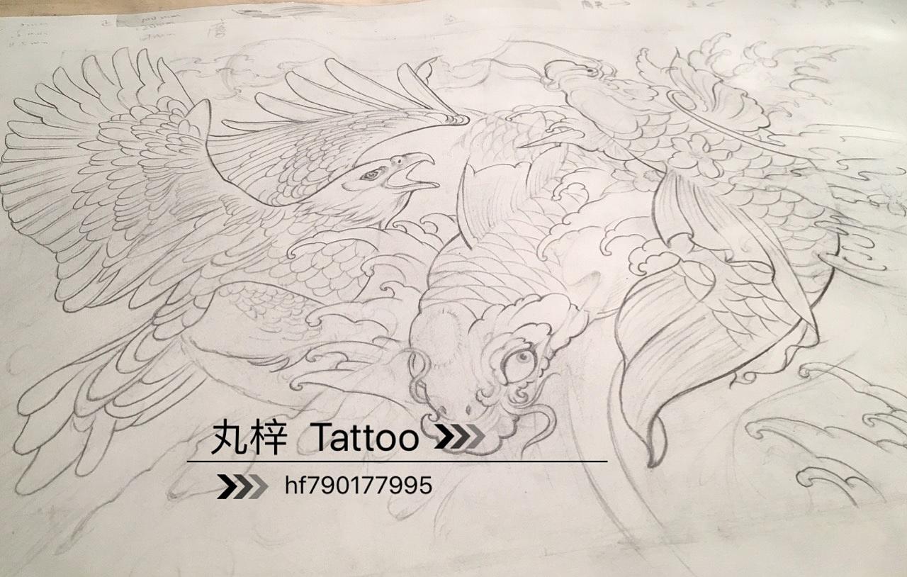 浪花鲤鱼满背纹身手稿分享展示