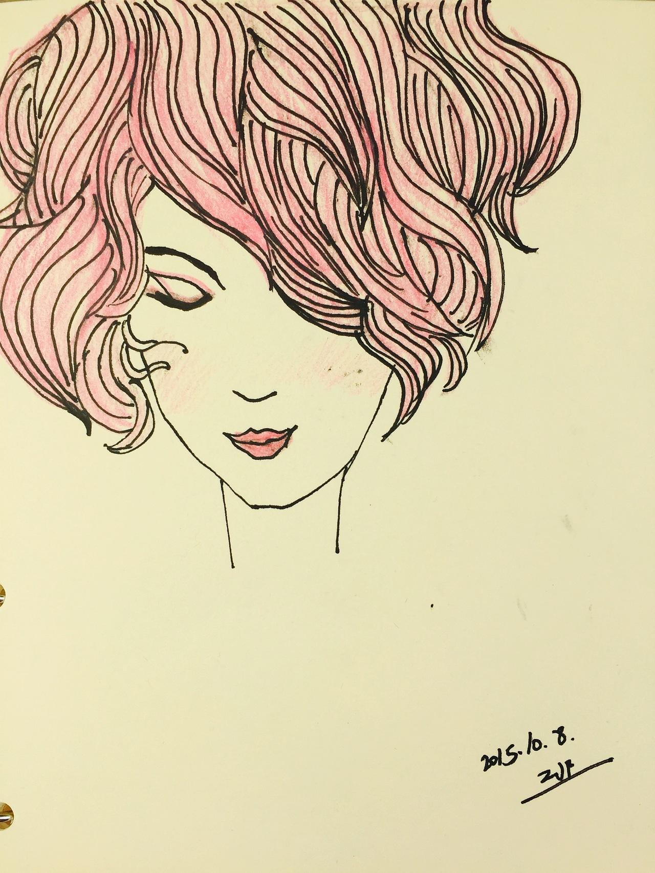 手绘粉红头发女孩儿