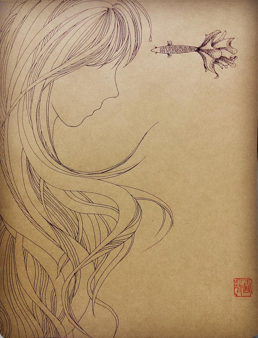 线描手绘之 《鱼》系列 共五幅 (附过程图)图片
