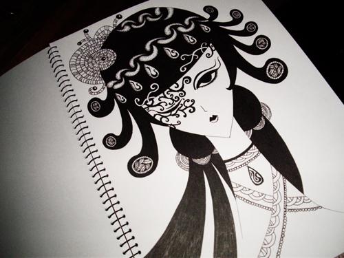 水笔画的黑白画 喜欢