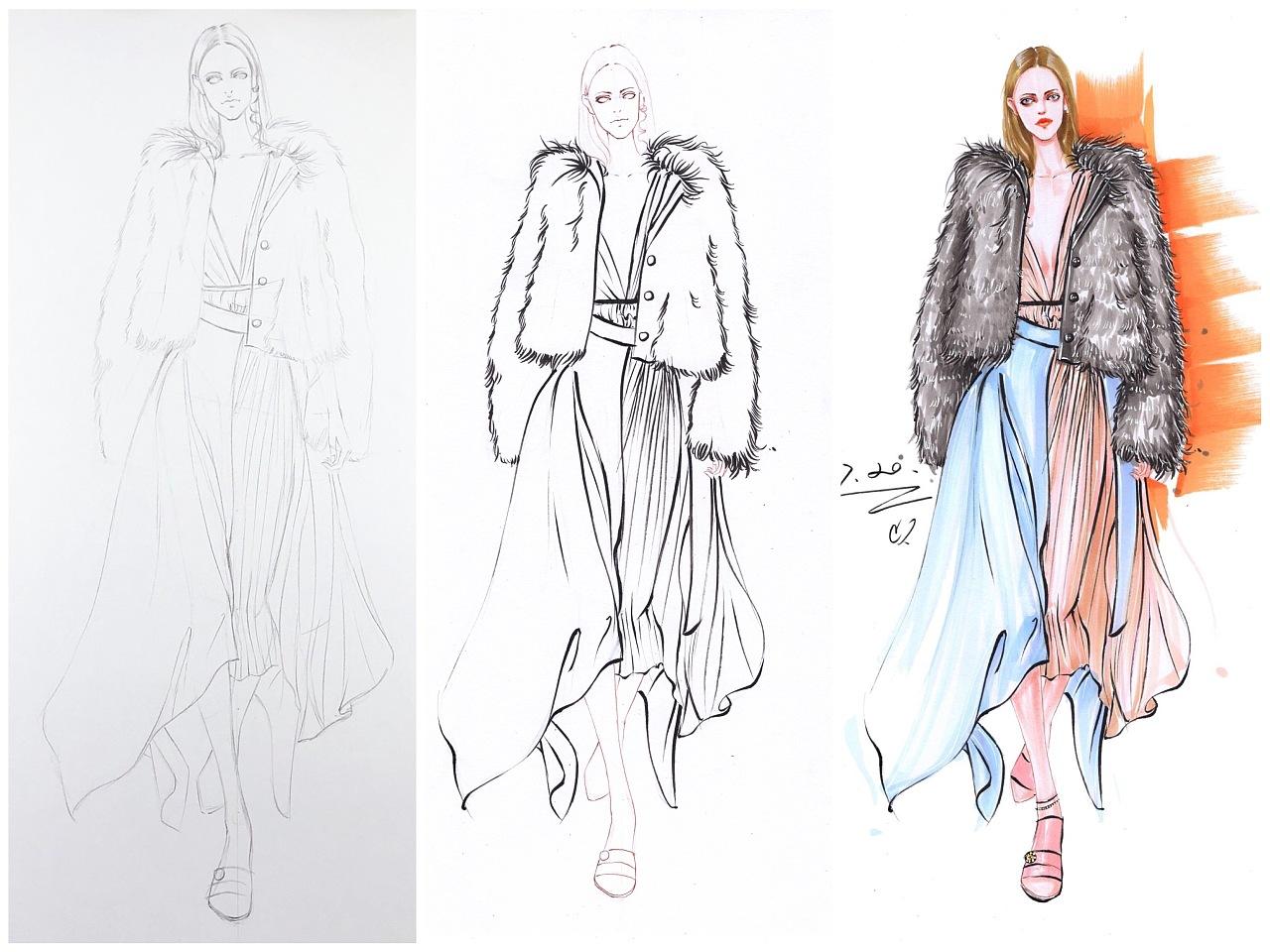 服装设计手绘~马克笔时装画步骤图|服装|休闲/流行图片