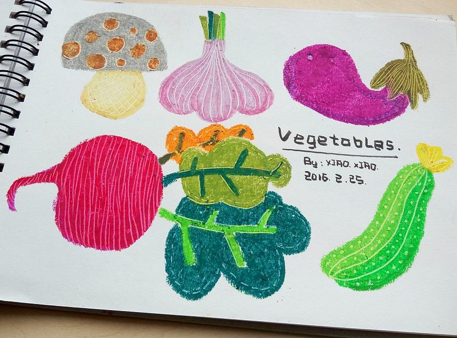 油画棒练习|儿童插画|插画|饿鱼 - 原创设计作品图片