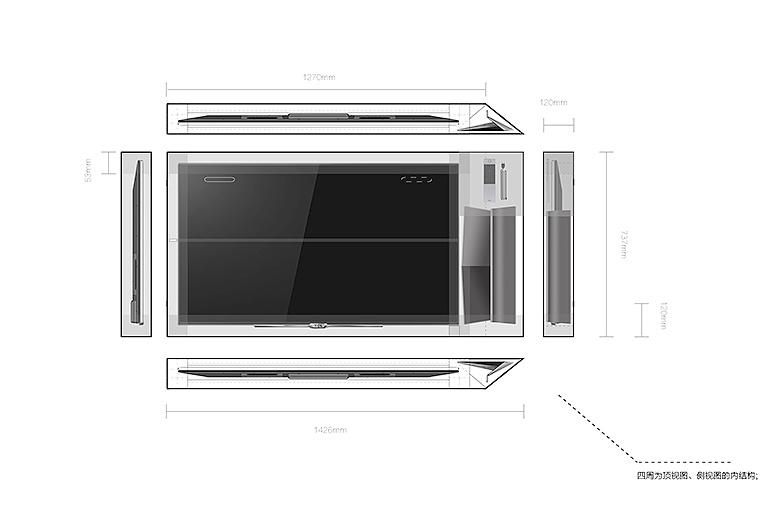彩电以及相关配件内部结构,布局紧凑,空间最优化利用;,节省空间和包装