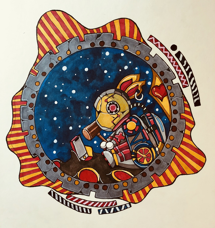 背景为月球,设计的一张中秋节主题的装饰画,暴走的机械兔子打碎手机象图片