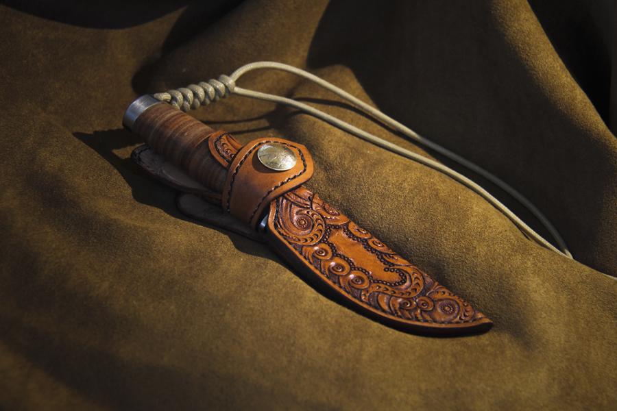 手工皮雕刀套|皮艺|手工艺|品成pinchin