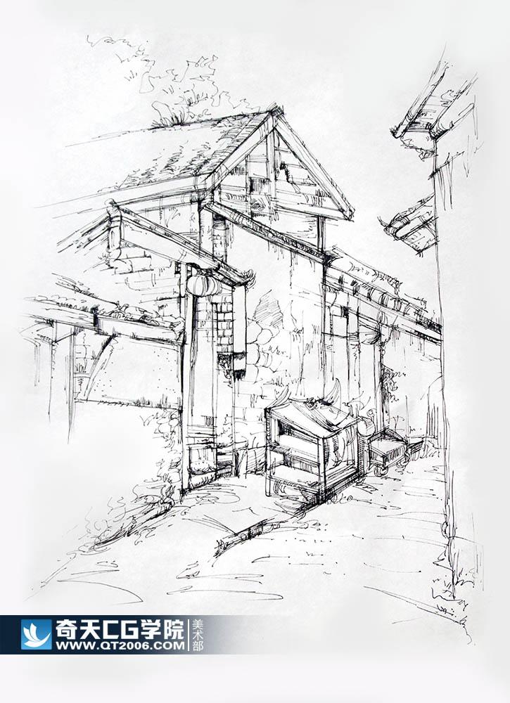传统美术手绘,速写建筑