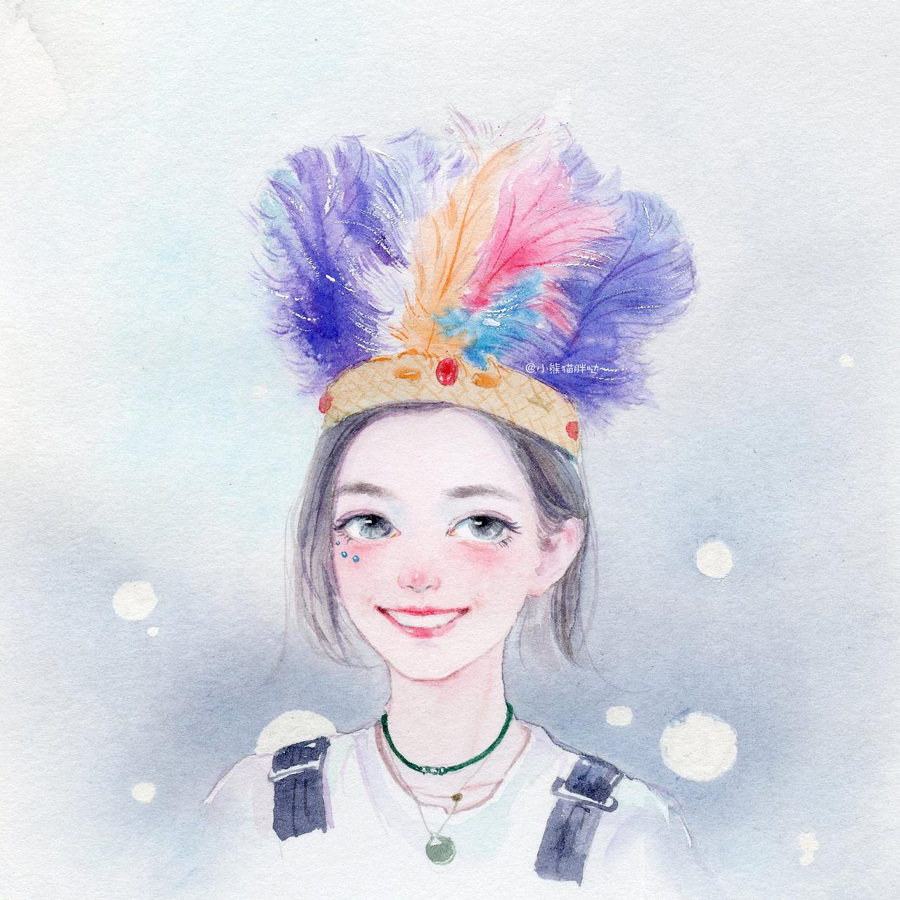 熊猫】花儿与少年水彩插画手绘人物水彩插画教程人物卡通头像手绘水彩