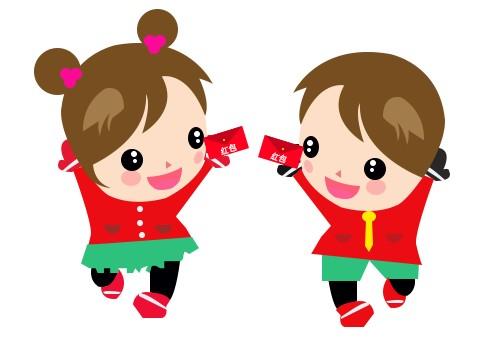 拿红包的卡通小孩|绘画习作|插画|小小绿