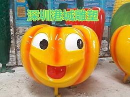 笑脸瓜果蔬菜公仔玻璃钢南瓜卡通雕塑定制批发零售厂家