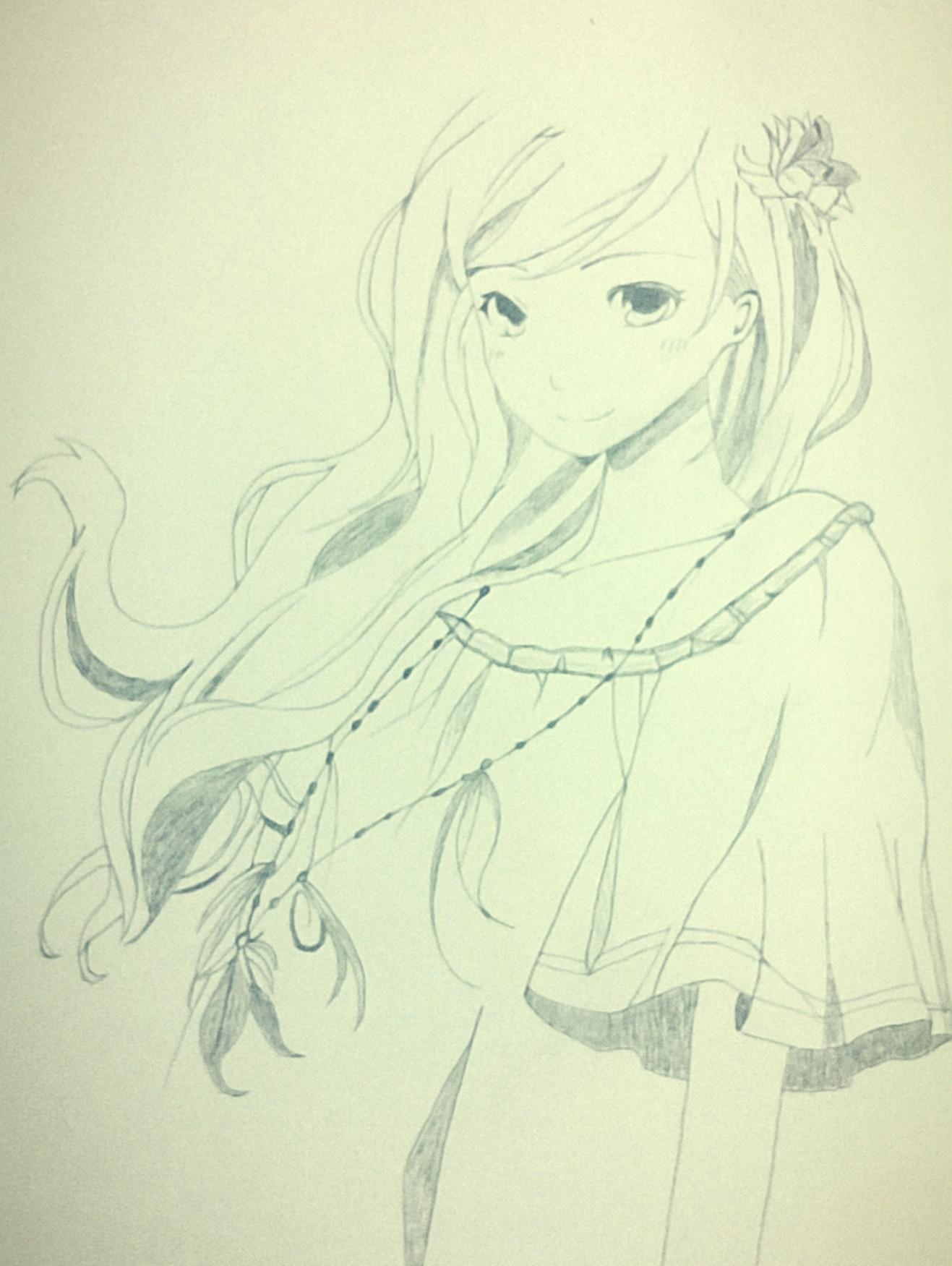 女孩头发侧面简笔画分享展示