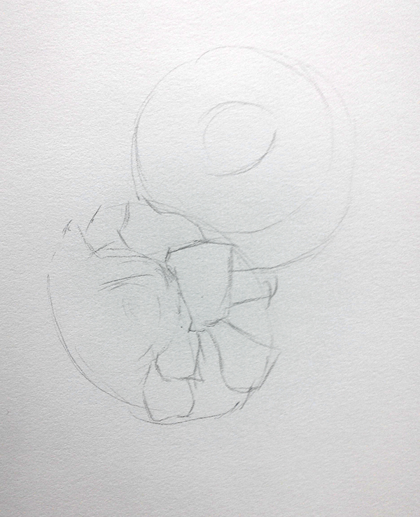 栀子花彩铅绘画过程