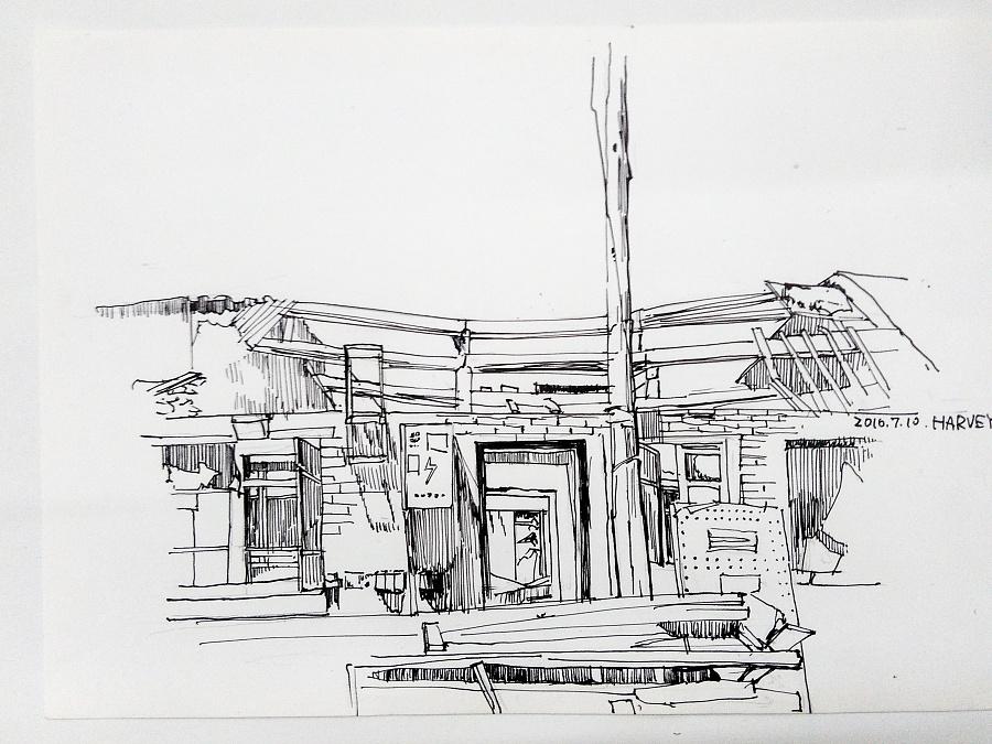 手绘房子黑白图
