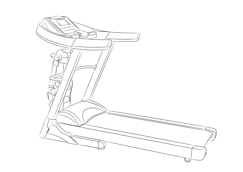 健身器材-跑步机产品手绘/渲染