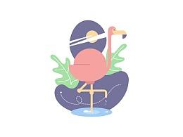 如何使用Illustrator绘制扁平火烈鸟场景插画