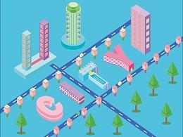 多彩城市插画