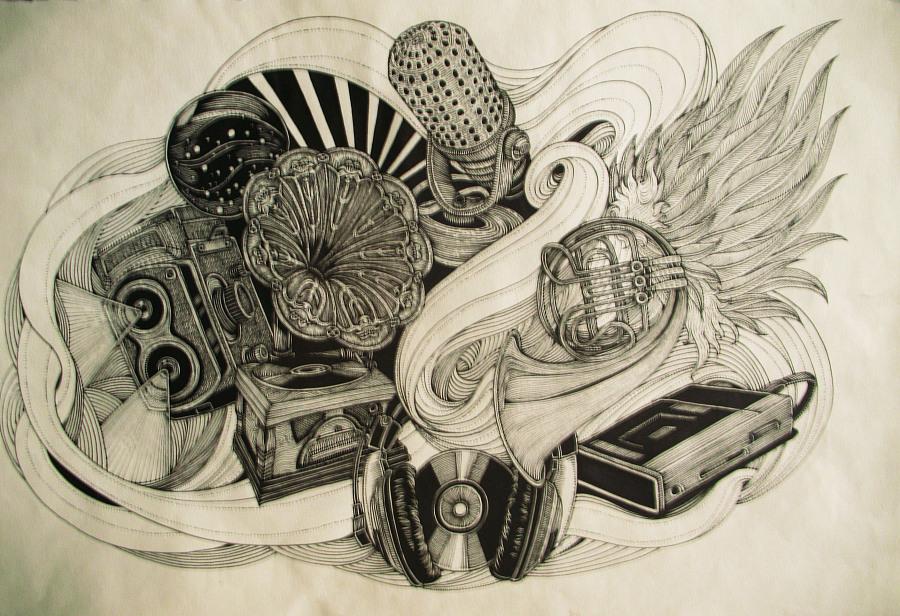 黑白装饰画|商业插画|插画|傅淳强