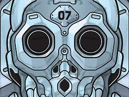 机械骷髅-贴纸秀