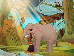 采茶的布朗族少女与象