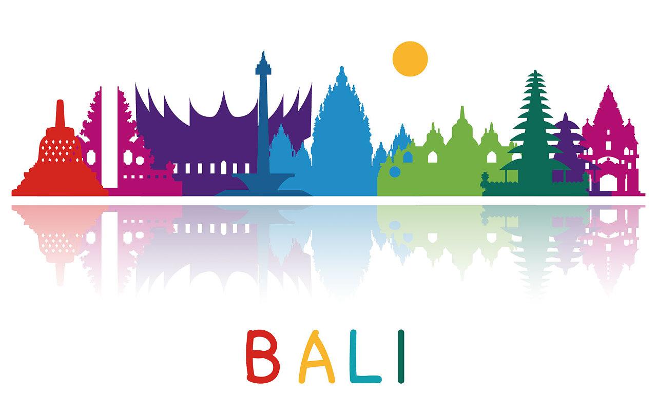 巴厘岛彩色建筑剪影特色风景地标
