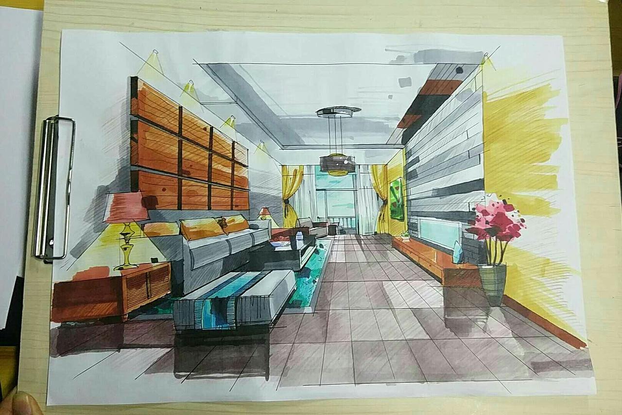 手绘效果图 马克笔初尝试|空间|室内设计|色姬师