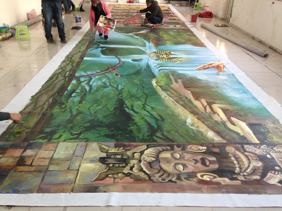 手绘《沉没埃及》巨幅3d立体画|墙绘/立体画|其他|3
